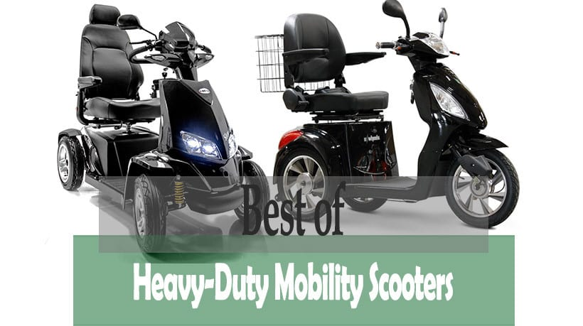 two of the reviewed heavy-duty mobility scooters