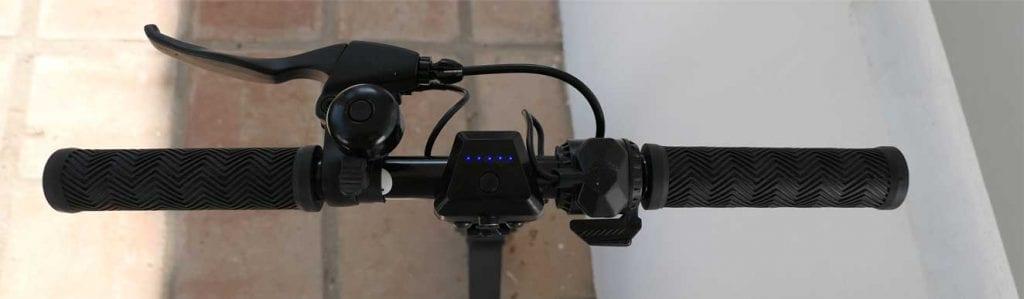 Handlebar including brake, bell, throttle and battery indicator