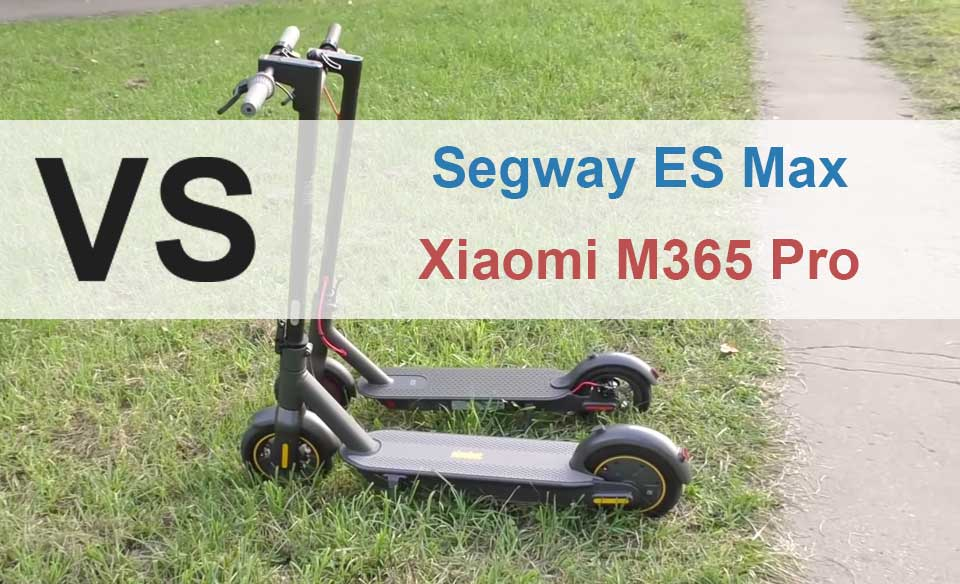Both Xiaomi pro & Ninebot max side by side on the grass
