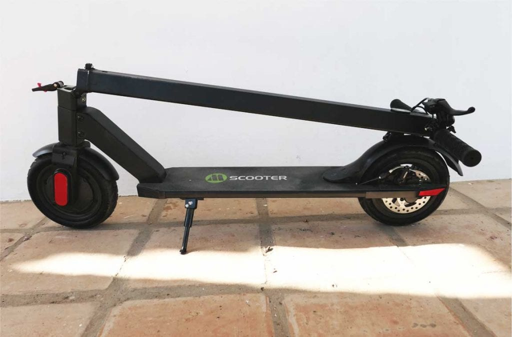How the Megawheels electric scooter looks in a folded state