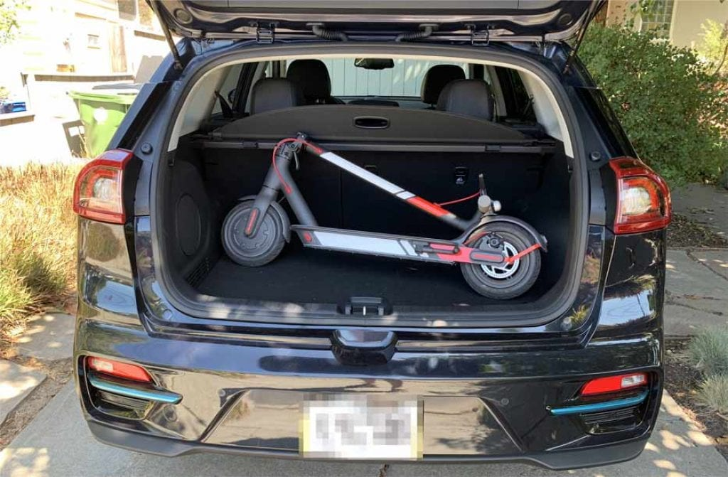 Electric lightweight scooter fit perfectly in a standard car trunk