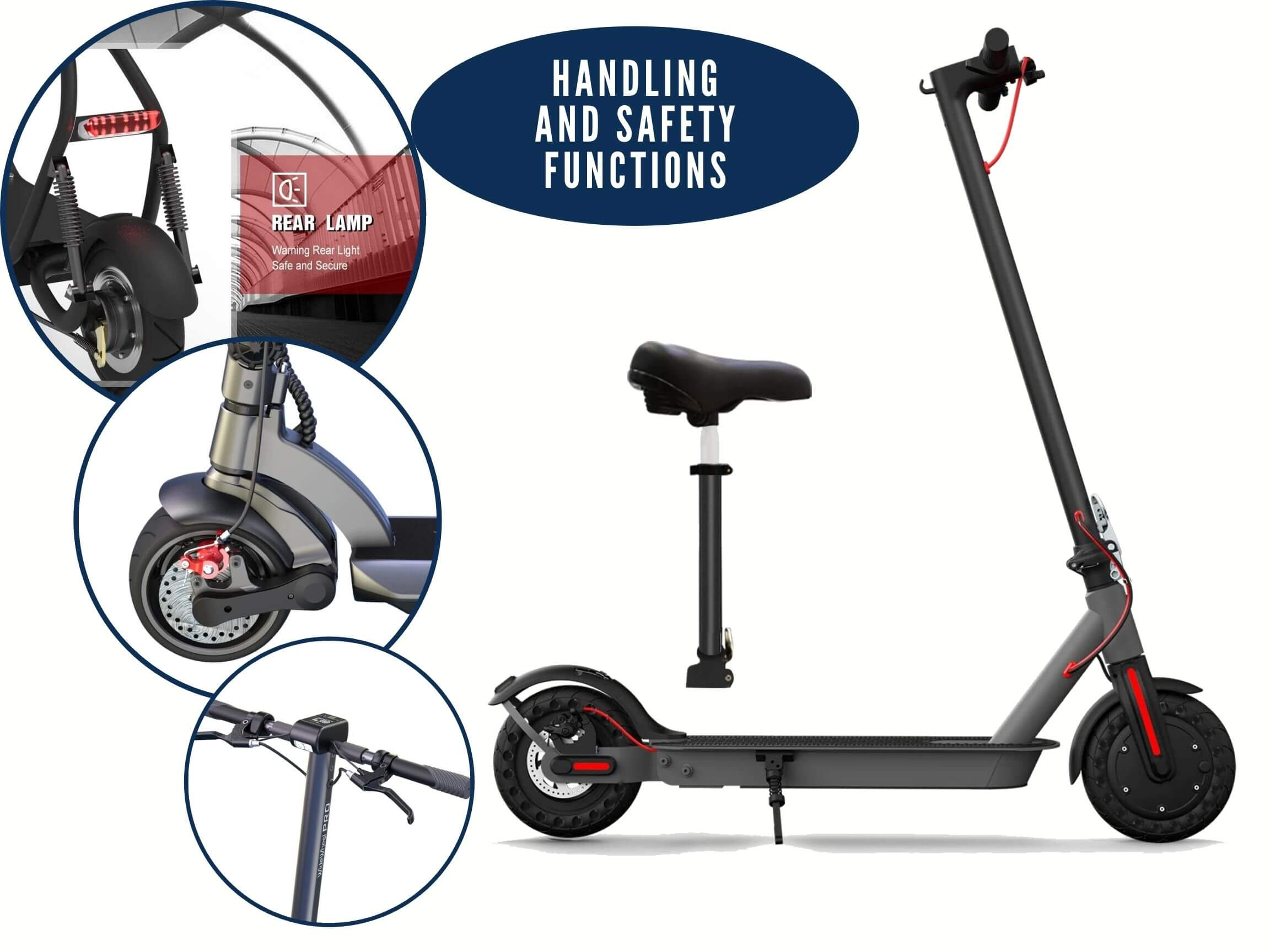 Safety functions of electric scooters with seat